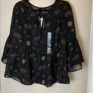Lucky Brand Black Multi Dot Floral Top